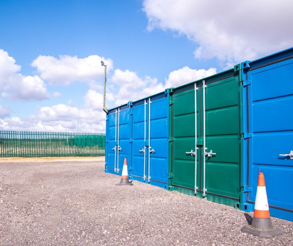A row of storage containers.