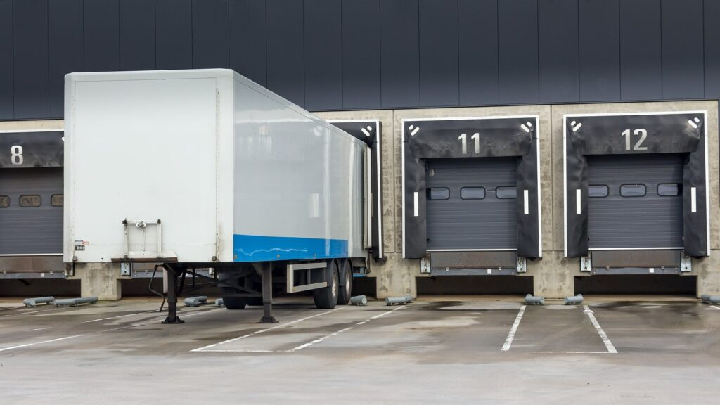 storage trailer at a loading dock